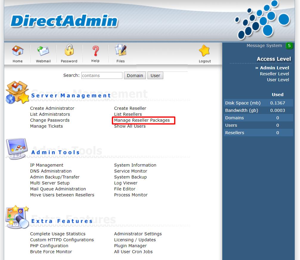 reseller Directadmin