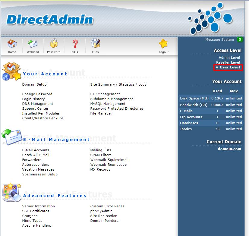 Directadmin User Level